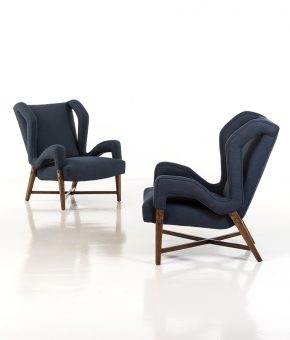 BBPR studio – Pair of armchairs – wood, brass and fabrics – 1958 – Courtesy of 18 Davies Street Gallery